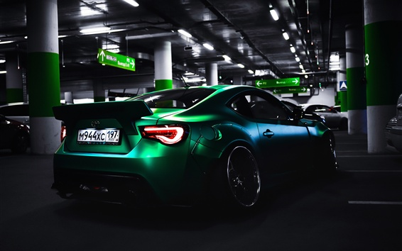 Wallpaper Toyota green supercar rear view, parking