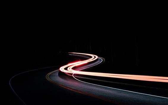 Wallpaper Traffic, road, light lines, night
