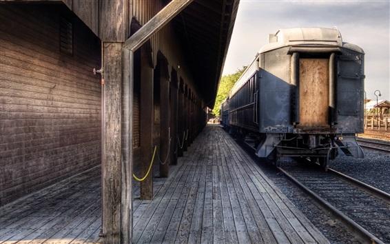 Обои Поезд, вокзал, железная дорога, ретро
