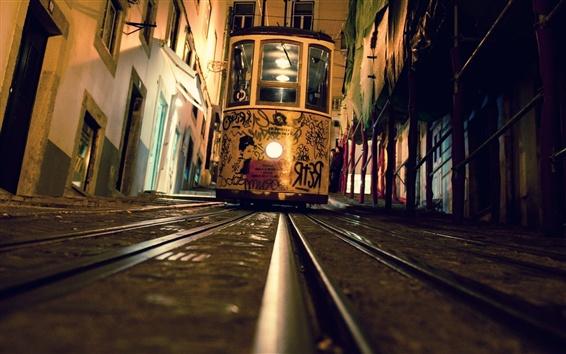 Обои Трамвай, вид спереди, ночь, рельсы, город