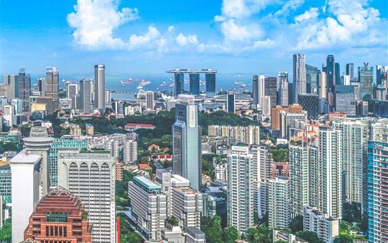 Fond d'écran Voyage à Singapour, gratte-ciel, vue sur la ville
