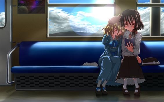 Wallpaper Two anime girls in train