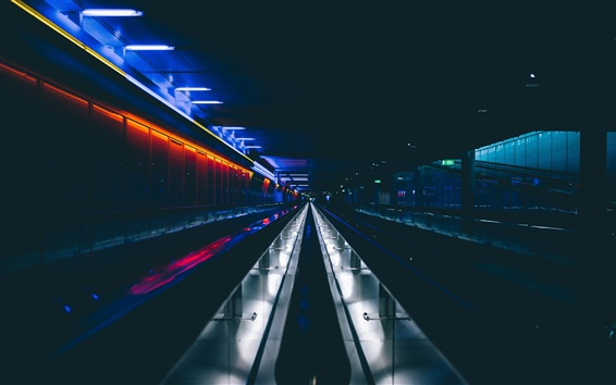 Wallpaper Underground tunnel, dark, lights