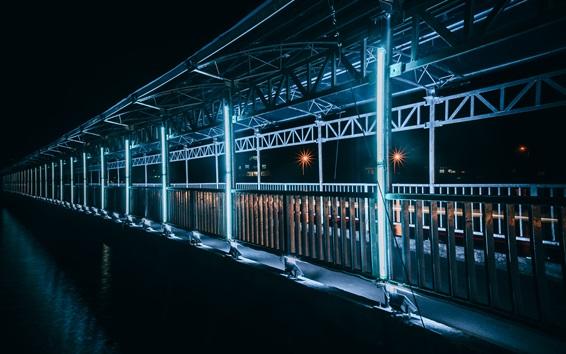 Papéis de Parede Vietnã, ponte, iluminação, noite