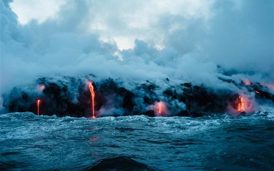 배경 화면 화산 용암, 바다, 연기, 자연 경관