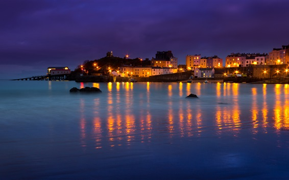 Wallpaper Wales, Tenby, bay, houses, boats, sea, night, lights
