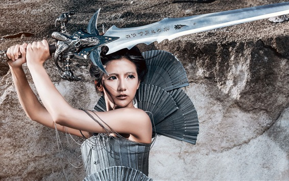 Fond d'écran Warrior girl, Chinese, épée, rétro