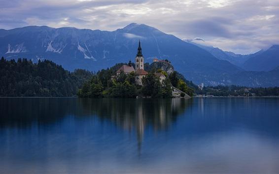 Wallpaper Welcome to Slovenia, island, church, lake, dusk