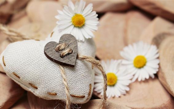 Wallpaper White love heart, daisies