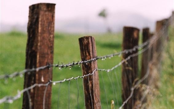 Обои Забор из проволоки, капли воды