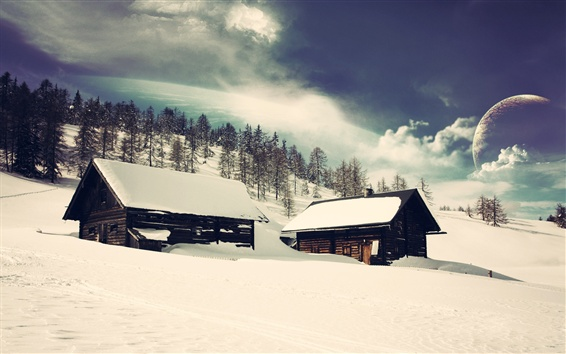 Fondos de pantalla Casas de madera, nieve, árboles, planetas, mundo de ensueño, diseño creativo