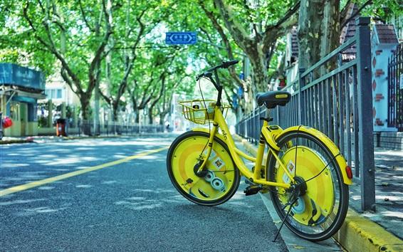 Fond d'écran Vélo jaune, route, rue, ville