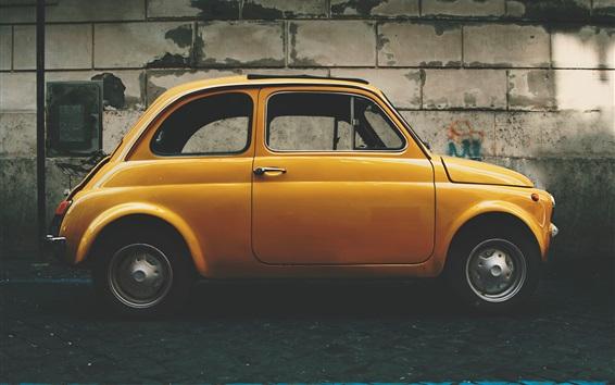 Wallpaper Yellow retro car side view