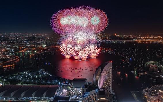 Papéis de Parede Yokohama, fogos de artifício, arranha-céus, noite, cidade, Japão