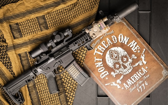 Wallpaper AR-15 semi-automatic rifle, weapon