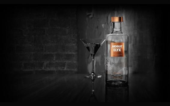 Fond d'écran Absolut Vodka, alcool, bouteille, tasse