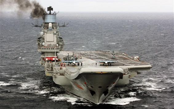 Wallpaper Aircraft carrier, cruiser, sea