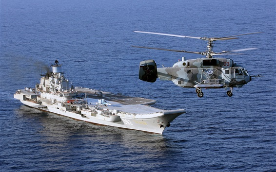 Wallpaper Aircraft carrier, helicopter, military