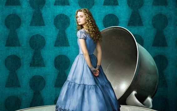 Fondos de pantalla Alicia en el país de las maravillas, niña rubia, platillo, taza