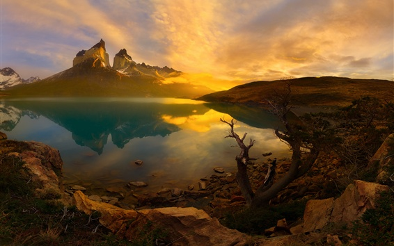 Wallpaper Andes mountains, lake, sunrise, dawn, Patagonia, Chile, South America
