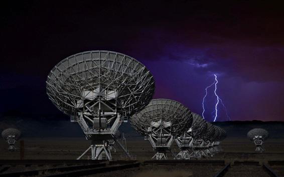 Wallpaper Antenna, science, lightning, night