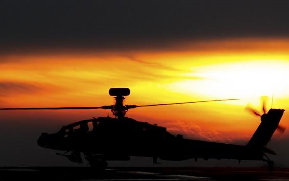 Fond d'écran Apache AH-64 hélicoptère, coucher de soleil