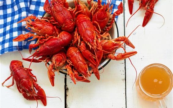 Wallpaper Appetizer, lobster, beer