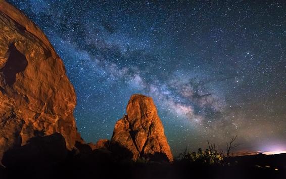 Papéis de Parede Arches National Park, Utah, noite, estrelas, céu