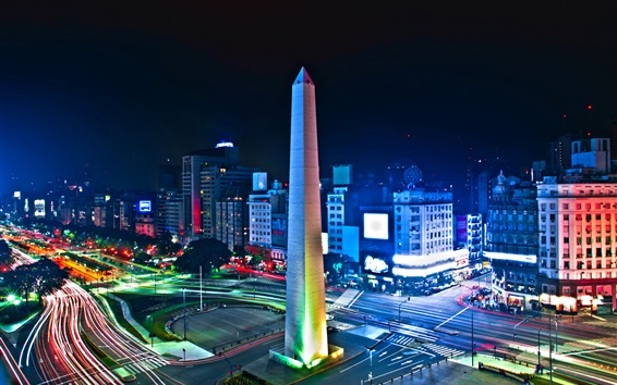 Wallpaper Argentina, Buenos Aires, tower, night, lights, road, street, city