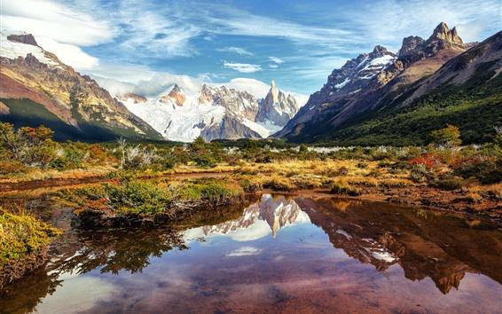 Papéis de Parede Argentina, Patagônia, lago, montanhas, céu, nuvens, América do Sul