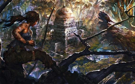 Wallpaper Art drawing, Tomb Raider, Lara Croft