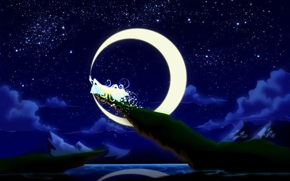 Fond d'écran Peinture d'art, princesse de lune