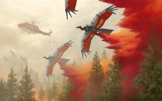 Wallpaper Art picture, helicopter, birds robot, fire