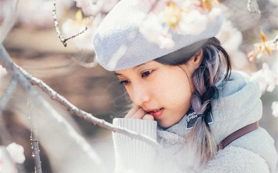 Fond d'écran Asiatique fille, fleurs, printemps