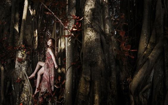 Wallpaper Asian girl, pose, legs, forest