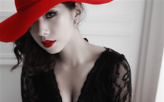 Wallpaper Asian girl, red hat, lips, lace