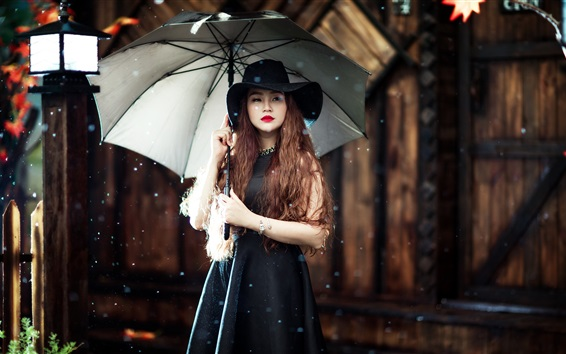 Wallpaper Asian girl, umbrella, rain