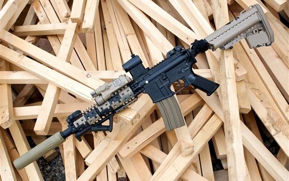 Fond d'écran Fusil d'assaut, bois