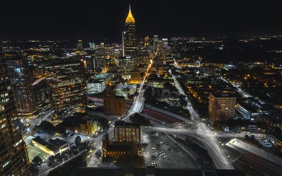 Wallpaper Atlanta, USA, night, roads, buildings, lights