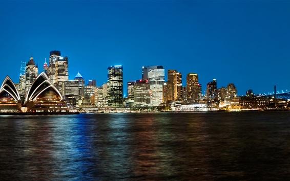 Wallpaper Australia, Sydney, skyscrapers, night, lights, coast