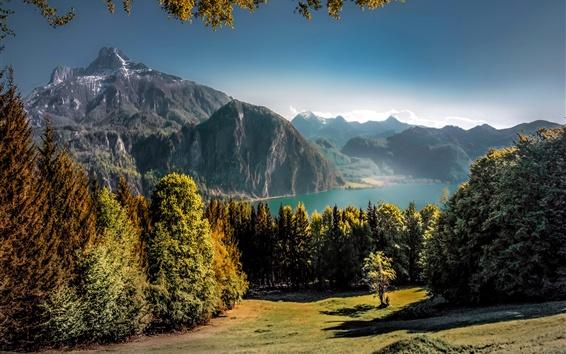 Wallpaper Austria, beautiful nature landscape, lake, mountains, trees, autumn
