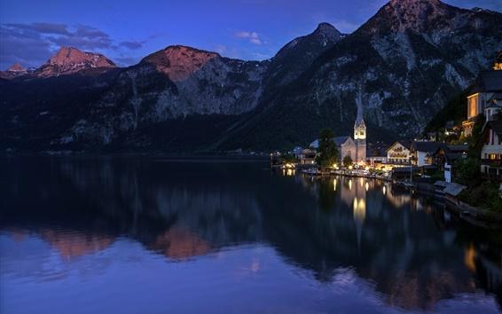 Wallpaper Austria, mountains, lake, evening, Hallstatt