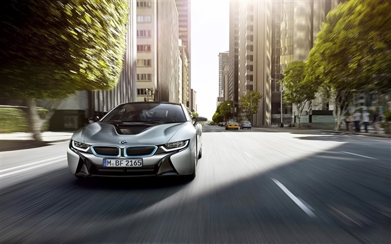 Wallpaper BMW i8 silver car front view