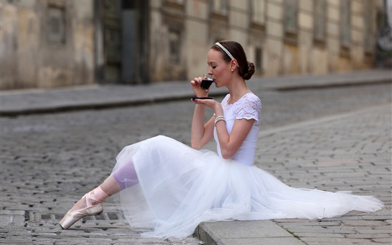 Wallpaper Ballet girl drinking tea