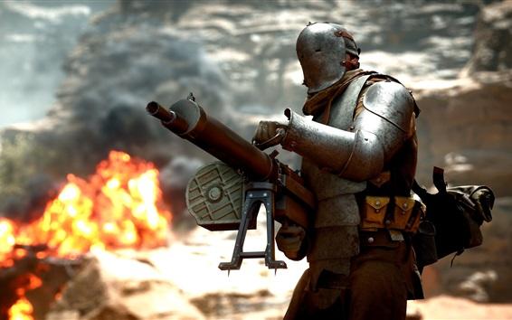 Fondos de pantalla Battlefield 1, soldados, ametralladora