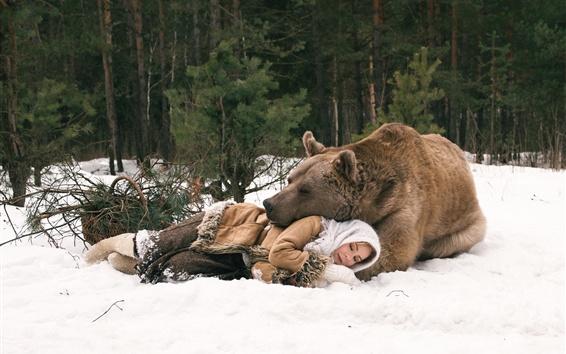 Papéis de Parede Urso e menina dormindo, inverno, neve