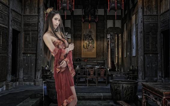 Wallpaper Beautiful Asian girl, retro style