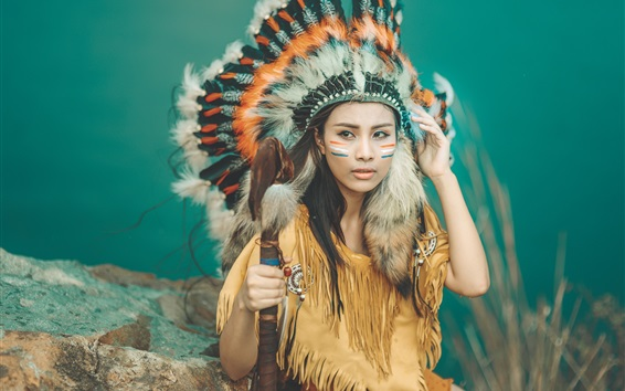 Papéis de Parede Menina indiana bonita, penas, toca