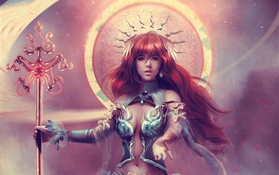 Wallpaper Beautiful fantasy girl, goddess, red hair
