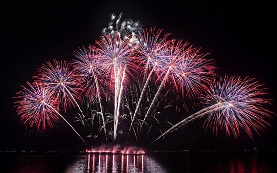 Fondos de pantalla Hermosos fuegos artificiales, río, noche, vacaciones